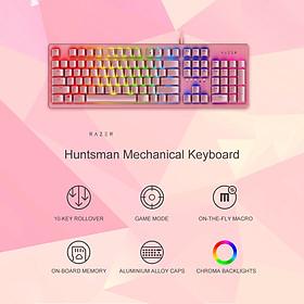 Bàn phím Razer Huntsman 104 phím Bàn phím chơi game có đèn nền RGB có dây chuyển quang tuyến tính Razer màu hồng