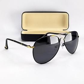 Mắt kính mát nam DKY270D màu đen. Tròng Polarized phân cực chống tia UV, gọng kim loại không gỉ.