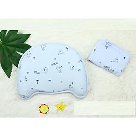 Gối cao su non chống bẹp đầu cho bé sơ sinh+ tặng kèm thêm một vỏ gối cùng màu xinh xắn