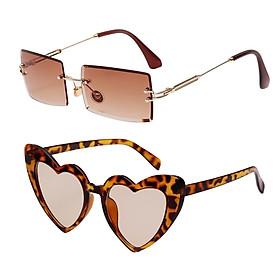 2 Pieces Fashion Heart Shaped Sunglasses Sun Glasses Club Costume Eyewear