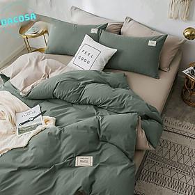 Bộ 5 món chăn ga gối cotton Tici cao cấp cotton tici chất vải thoáng mát đa dạng mẫu mã, vỏ chăn khóa kéo đa năng dùng được cho cả mùa đông và mùa hè