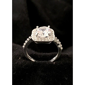 Hình đại diện sản phẩm Nhẫn nữ ổ cao gắn kim cương nhan tao bạc ta cao cấp trang sức bạc QTJ - nu219(bạc)