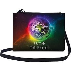 Túi Đeo Chéo Nữ In Hình I Love This Planet TUGA028