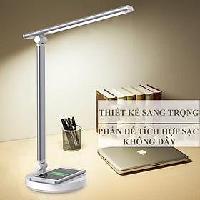 Đèn Bàn Học Đọc Sách Làm Việc LED Chống Cận Bảo Vệ Mắt – Cảm Ứng Tích Hợp Sạc Không Dây - Vùng Sáng 3000-6500K – 5 Cấp Độ Điều Chỉnh – Phiên Bản Nâng Cấp Cổng Type-C