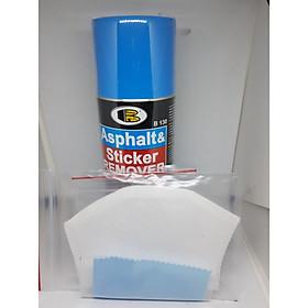 Chai xịt tẩy keo decal, băng dính,  keo dán, nhựa đường.. Asphalt & Sticker Remover - Bosny  B130 - 435 cc  - nhập khẩu Thái Lan (tặng kèm khăn lau và khẩu trang bằng vải không dệt)