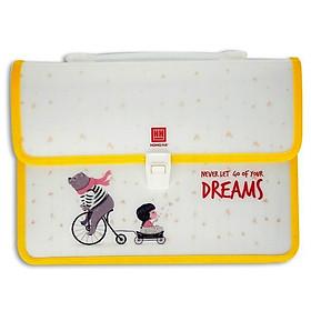 Cặp Nhựa Học Sinh 2 Ngăn Dream-3861 - Never Let Go Of Your Dreams - Màu Vàng