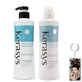 Bộ dầu gội/xả Kerasys Moisture cân bằng độ ẩm cho tóc xơ rồi Hàn Quốc (2x600ml) tặng kèm móc khoá-0