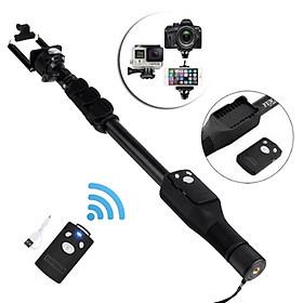 Gậy selfie chụp hình tự sướng có remote bấm bluetooth và đầu kẹp điện thoại, kéo dài hơn 1 mét, thân nhôm đen cực chắc- Hàng chính hãng