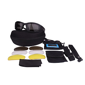 X7PC Outdoor Eye Protection Glasses Anti-Shock UV Blocking Sunglasses Windproof Protective Goggles Interchangeable