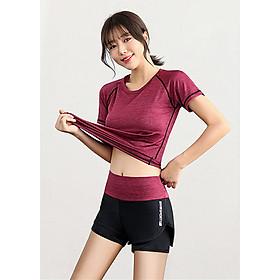 Bộ quần áo tập Gym nữ - Set quần đùi và áo thun thể thao tay ngắn