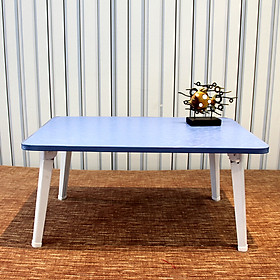 Double computer table bed with foldable laptop table elephant legs high cold blue
