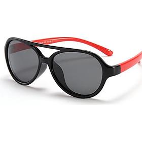 Kính mát cho bé thời trang, Mắt kính trẻ em gọng dẻo M15D Đen Đỏ