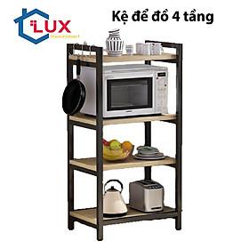 Kệ để lò vi sóng 4 tầng khung thép sàn gỗ, kệ đa năng đựng vật dụng nhà bếp tiện dụng (Giao màu ngẫu nhiên)