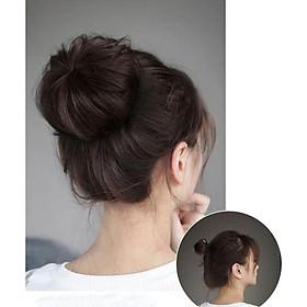 Tóc giả búi tỏi cao cấp, chất tóc tơ cao cấp mềm mịn, giống tóc thật 100%
