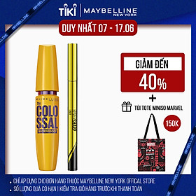 [Bộ trang điểm] Bộ đôi bút kẻ mắt nước siêu sắc mảnh + Mascara Dưỡng Mi Collagen Dày gấp 10 lần Colossal Maybelline New York