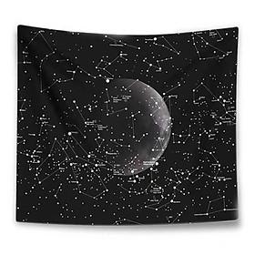 Thảm tranh treo tường bằng vải mỏng họa tiết dải ngân hà bầu trời sao trang trí phòng nhà cửa kết hợp đèn led đom đóm
