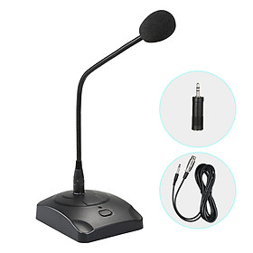Computer Microphone Professioinal Wired Desktop Conference Microphone Adjustable Neck for PC Laptop Speaker Mixer