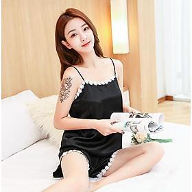 Bộ đồ ngủ nữ vải lụa 2 dây thoáng mát sexy dễ thương siêu xinh VN11