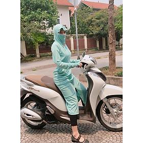 Áo chống nắng nữ toàn thân DOL Chất thun kim cương xịn - Xanh mint - FREESZ(40-65KG)