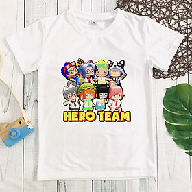 Áo thun trắng in hình Hero Team hot hit cho bé trai và bé gái