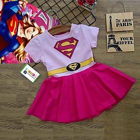 Váy đầm siêu nhân kèm áo choàng cho bé gái VSN05