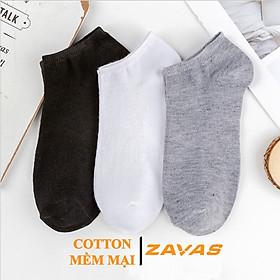 Vớ cổ ngắn nam ZAVAS Cotton thấm hút mồ hôi khử mùi kháng khuẩn dưới mắt cá chân Combo 3 đôi
