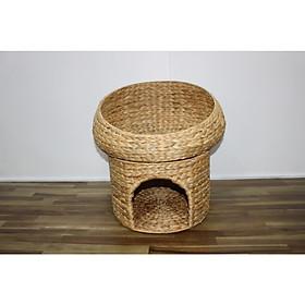 Nhà chó mèo hình tròn 2 tầng bằng lục bình-SD8497A/1NA