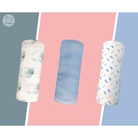 Hộp 3 khăn sợi tre Lovingbaby đa năng cho bé - Siêu thấm hút, Mềm mịn, An toàn cho da bé - kích thước 77x77cm