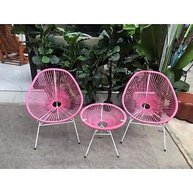 Bộ bàn ghế dây văng ban công, cafe -DV001 - Màu Hồng