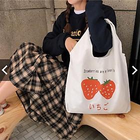 Túi tote vải bố đựng dồ canvas đeo vai phong cách Hàn Quốc loại đẹp,túi quả dâu HZ59