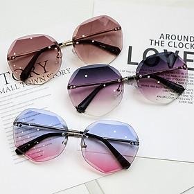 Kính râm nữ không viền nữ phiên bản Hàn Quốc là kính mỏng UV bảo vệ -Kính mắt nữ hình đa giác K02
