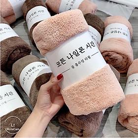 Khăn tắm lông cừu hàn quốc cao cấp 70x140 cm chất bông siêu mềm mịn thấm nước cực nhanh Loại 1 + Tặng khăn quấn tóc cute (màu ngẫu nhiên)