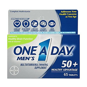 One A Day Men's 50+ Multivitamins, Supplement with Vitamin A, Vitamin C, Vitamin D, Vitamin E and Zinc for Immune Health Support*, Calcium & More, 175 Count