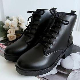 Giày boots da nữ thời trang 5p buộc dây cao cấp BT2