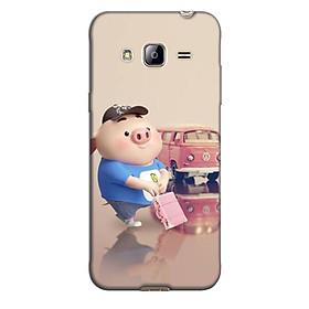 Ốp lưng nhựa cứng nhám dành cho Samsung Galaxy J3 2016 in hình Heo đi du lịch