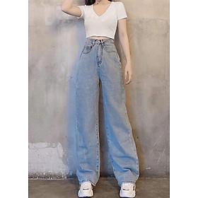 Quần jean nữ ống rộng cạp cao