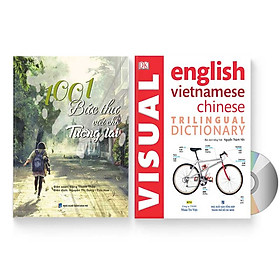 Combo 2 sách: 1001 Bức thư viết cho tương lai + Từ điển Tam ngữ - Visual English Vietnamese Chinese Trilingual Dictionary  + DVD quà tặng
