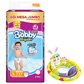 Tã/bỉm quần Bobby gói Mega Jumbo L111 (9 - 13kg) [Tặng phao bơi hình thú INTEX]