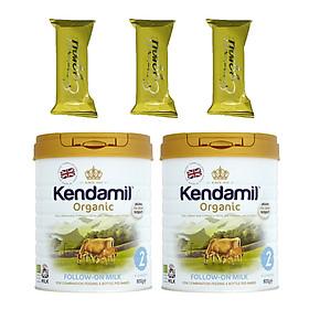 Combo 2 hộp Sữa bột Nguyên kem công thức hữu cơ KENDAMIL ORGANNIC số 2: ORGANIC FOLLOW ON MILK (800G) ( cho trẻ từ 6-12 tháng tuổi) - Phát triển chiều cao và trí não, tăng cân, tăng sức đề kháng – Tặng 3 bánh quế cuộn hiệu Kapad