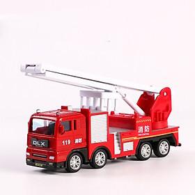 Xe đồ chơi mô hình xe cứu hỏa thang gập DLX , nhựa ABS an toàn, chi tiết sắc sảo (hàng nhập khẩu)
