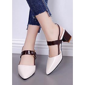 Giày cao gót đế vuông bít mũi có quai hậu đi lại nhiều không đau chân 96108