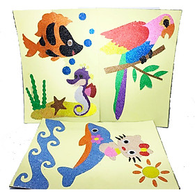 Đồ chơi cho bé: Tranh cát 3 bộ : Chim két, mèo kitty, cá ngựa (Kích thước cỡ trung) kèm 12 màu cát cho bé. Tranh cát Việt Nam: đồ chơi rèn luyện tư duy quan sát, thẩm mỹ và sự khéo léo.