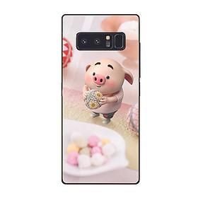 Ốp kính cường lực dành cho điện thoại Samsung Galaxy Note 8 - heo hồng - hh146 - hàng đẹp