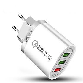 Củ sạc nhanh QGeeM 3 cổng USB hỗ trợ Quick Charge 3.0 cho iPhone EU Plug 18W Adapter chuyển đổi sạc nhanh dành cho Samsung Xiaomi Huawei-Hàng Chính Hãng