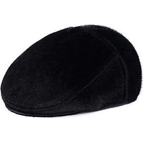 Nón nồi lông thú – Mũ Beret dành cho nam trung niên lót bông dày – Mũ che tai mùa đông