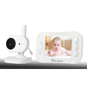 Máy báo khóc em bé màn hình LCD 3.5 inch chất lượng sắc nét cao (Tặng quạt nhựa mini cắm cổng USB-Màu ngẫu nhiên)
