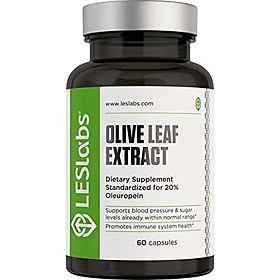 LES Labs Olive Leaf Extract, Natural Supplement for Immune System Function, Blood Sugar & Blood Pressure Support, 20% Oleuropein, 700mg, 60 Capsules
