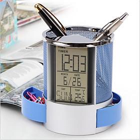 Multifunction Electronic Clock Perpetual Calendar Pen Holder Desk Office Organizer