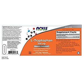 Viên Uống Giúp Thư Giản Thoải Mái Now L-Tryptophan 500mg (120 Viên Nang Thực Vật)