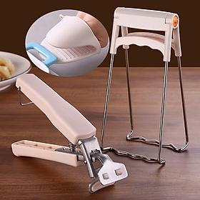 Bộ dụng cụ gắp đồ nóng nhà bếp silicone 3 món - Kẹp đồ ăn, găng tay, giá bung kẹp tô đĩa